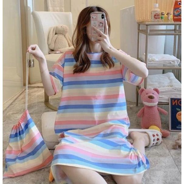 Váy đầm ngủ hoạt hình/ Váy dáng suông - Tặng túi đựng - [Hàng QC loại 1]