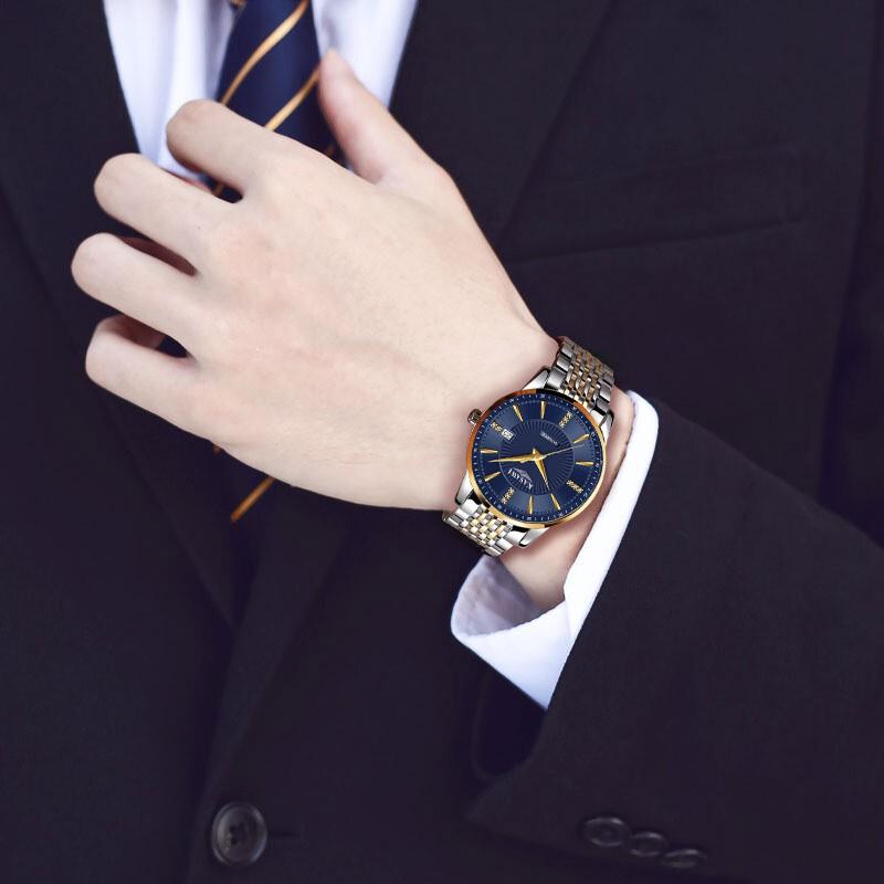 Đồng Hồ đeo tay Nam KASAWI K866 không thấm nước thương hiệu 2020 Lịch ngày thời trang  dây hợp kim thép _FULL BOX