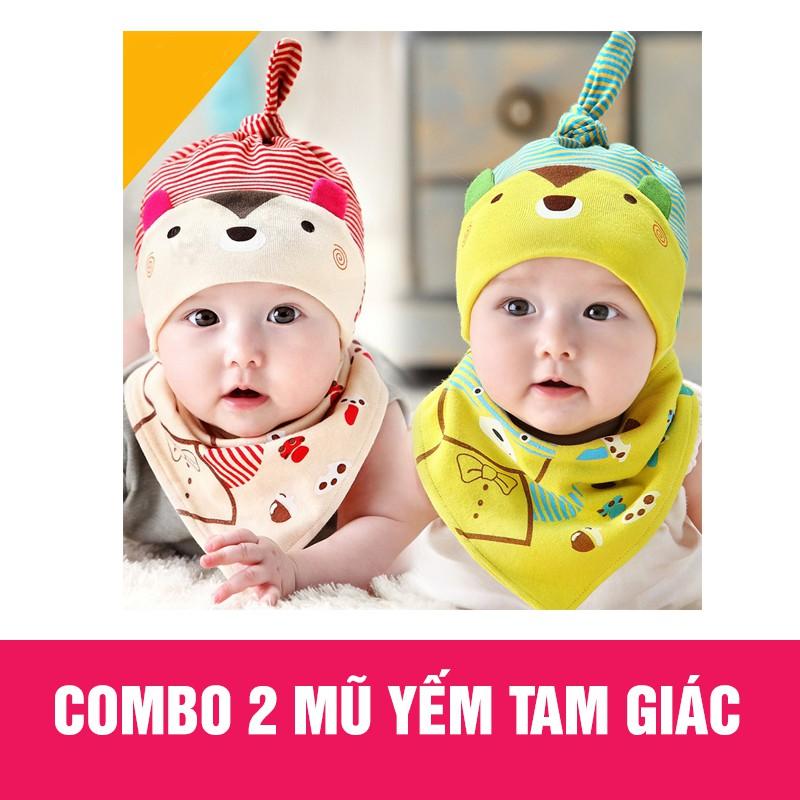 Combo 2 mũ và yếm tam giác cho bé