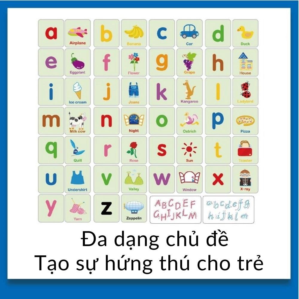 Bộ thẻ học làm quen Tiếng Anh Chữ cái Chữ số ❤️Hộp sắt❤️ Đồ chơi cho bé giáo dục sớm Motessori mã 53015