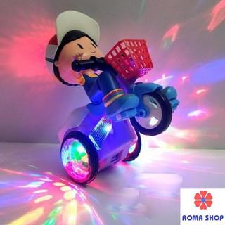 (XẢ HÀNG) Đồ chơi em bé lái xe đạp bốc đầu xoay 360 độ phát sáng có nhạc vui nhộn