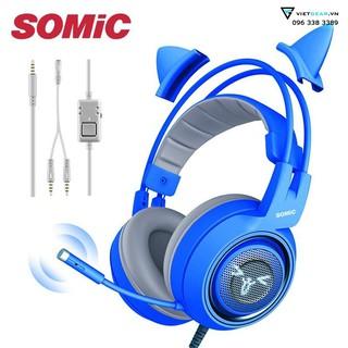 Tai nghe hình mèo Somic G951s mầu xanh có micro