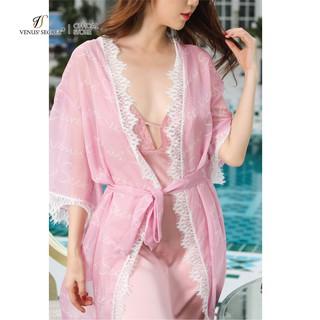 [Mã LT50 giảm 50k đơn 250k] Áo choàng ngủ lụa satin cao cấp kiểu dáng Kimono voan in logo VenusSecret thumbnail