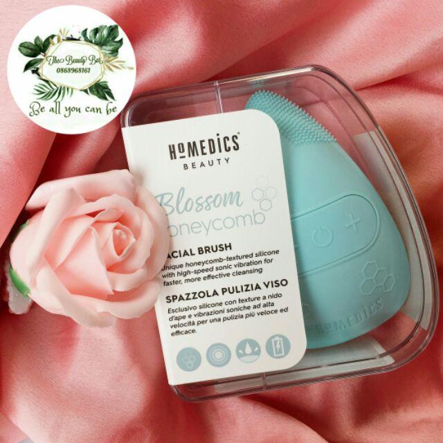 Máy rửa mặt USA Silicone kháng khuẩn công nghệ siêu âm, hút chân không HoMedics Blossom Honeycomb FAC-350 nhập khẩu USA
