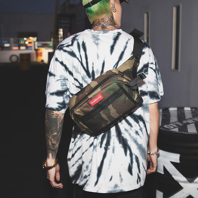 กระเป๋าคาดอกกระเป๋าสะพายไหล่ลายพรางแฟชั่นผู้ชาย