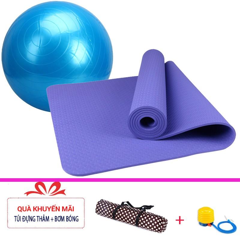 Combo thảm tập yoga TPE 1 lớp 8mm + Bóng tập yoga cao cấp (Tặng túi đựng thảm và bơm bóng)