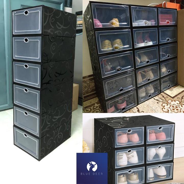 Hộp đựng giày nắp nhựa cứng trong suốt full đen cá tính - Box Sneaker New - Blue Deer