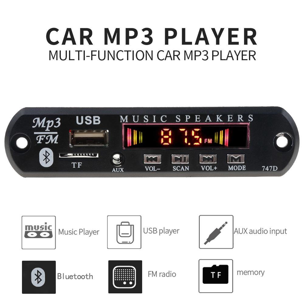 Mô đun giải mã bluetooth 5V 12V màn hình màu cho MP3 FM Radio TF USB AUX Car Audio