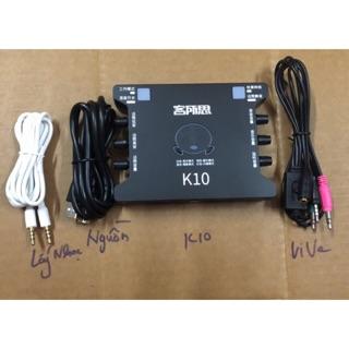 [Freeship toàn quốc từ 50k] Soundcard K10 và dây live 3 mầu (hãng XOX).(2 món).