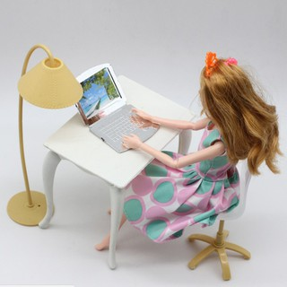 Doll Role Playing Workbench Computer + Table + Table Lamp + Chair Props