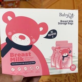 Hộp 30 túi trữ sữa gấu dễ thương