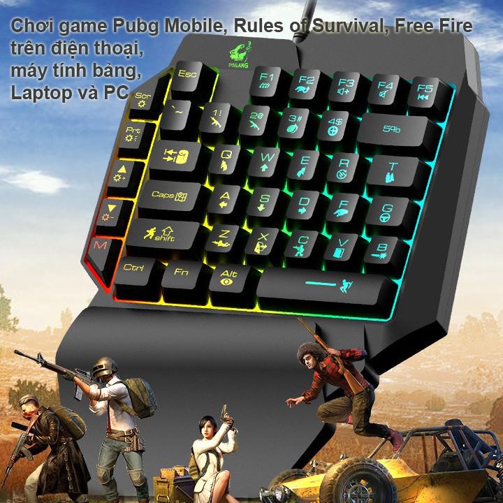 Bàn phím giả cơ FREE WOLF K15 chơi game Pubg Mobile, Free Fire trên điện thoại, máy tính bảng, Laptop -dc3640