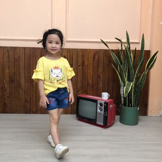 Quần shorts bò cho bé gái 9-30kg [CHÍNH HÃNG SILBER] phom ôm, vải Hàn 100% cotton co giãn nhẹ, in chữ A6