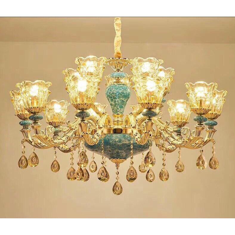 Đèn chùm trang trí ROYA phong cách Châu Âu hiện đại sang trọng loại 15 tay - Tặng kèm bóng LED đầy đủ /3 màu