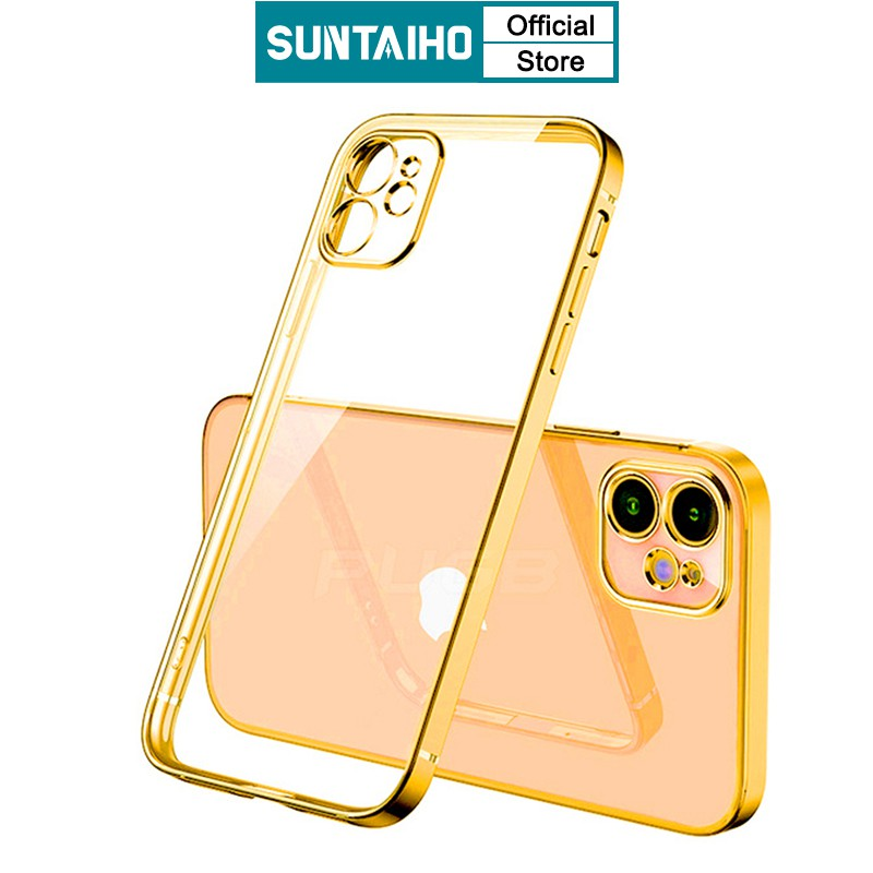 SUNTAIHO Luxury Classic Square frame Plating Soft TPU Phone Case For iPhone 6 6s Plus X XS Max XR 7 8 plus SE 2020