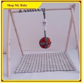 Set Kệ chữ A gỗ + Bóng vải luyện chân cho bé   Đồ chơi treo nôi cho trẻ sơ sinh