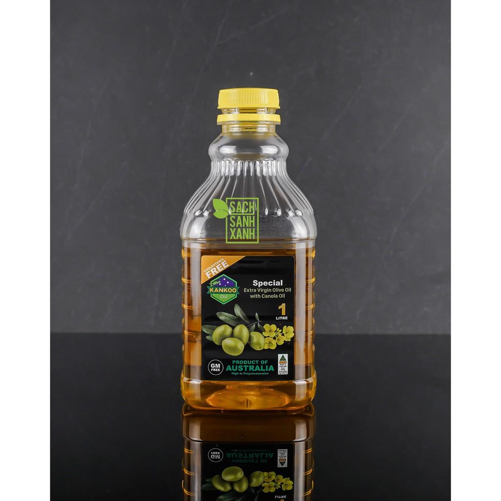 Dầu ăn Oliu hạt cải Kankoo loại 1 lít, dầu Olive pha hạt cải ép lạnh nguyên chất nhập khẩu Úc chuyên chiên xào ngon, tốt