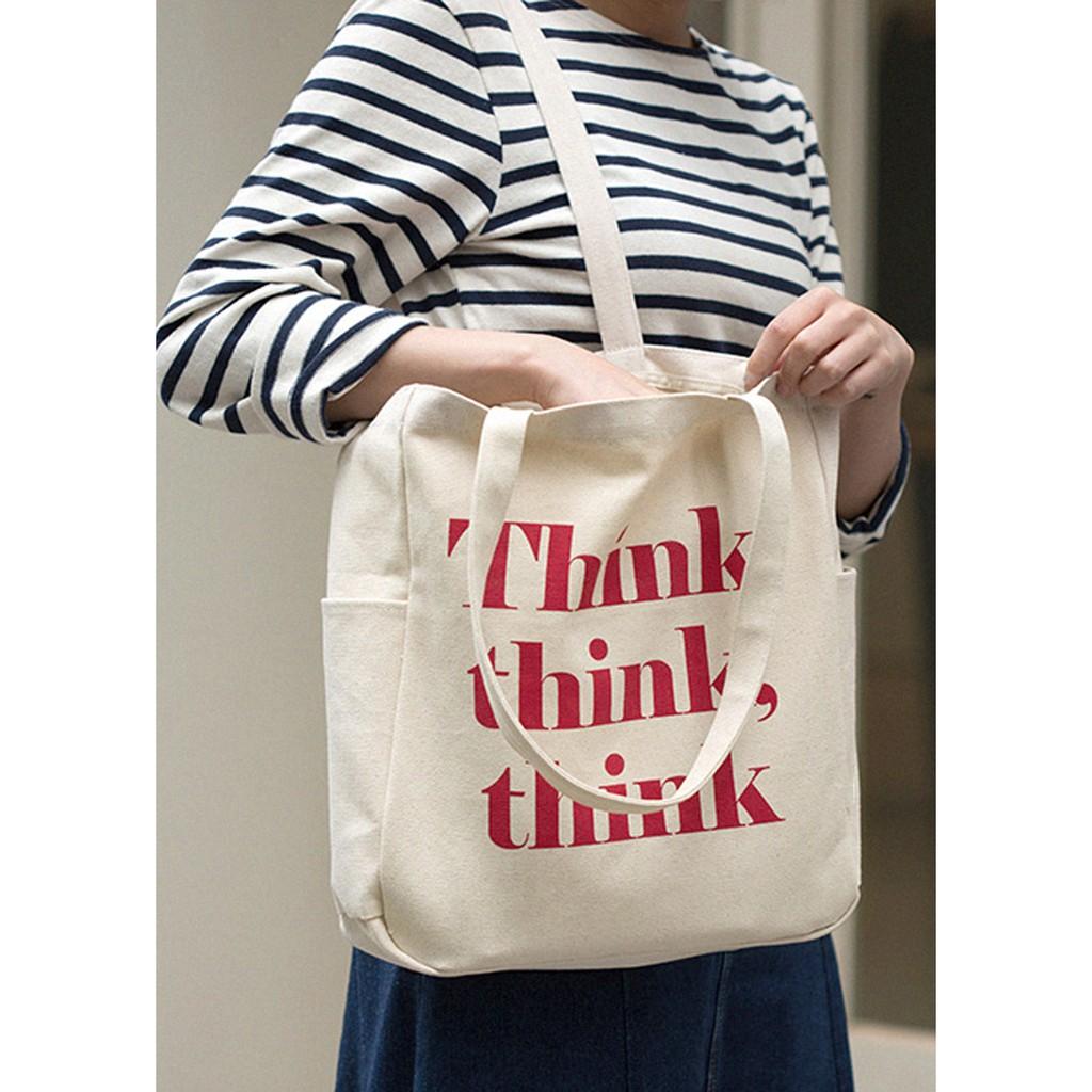 Túi Vải Tote Ginko Unisex Phong Cách Hàn Quốc In Hình Think, Think, Thin