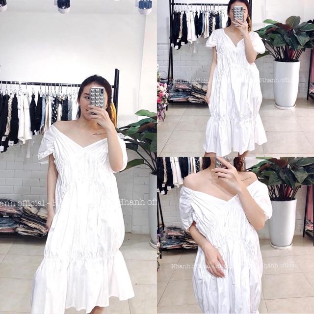 Váy trắng maxi nhúm