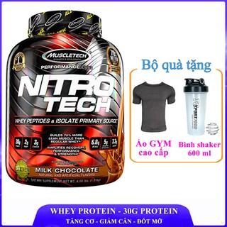 [TẶNG ÁO VÀ BÌNH] Sữa tăng cơ cao cấp Whey Protein Nitro Tech của MuscleTech hộp 41 lần dùng thumbnail