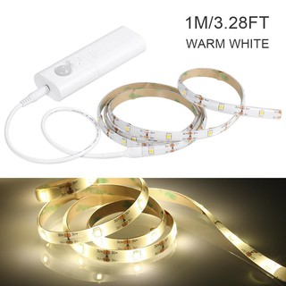 2020SKY 1M 30LEDs Cabinet Strips Lights PIR Motion Sensor Under Bed String Light Automatic & Manual Switch Modes Battery