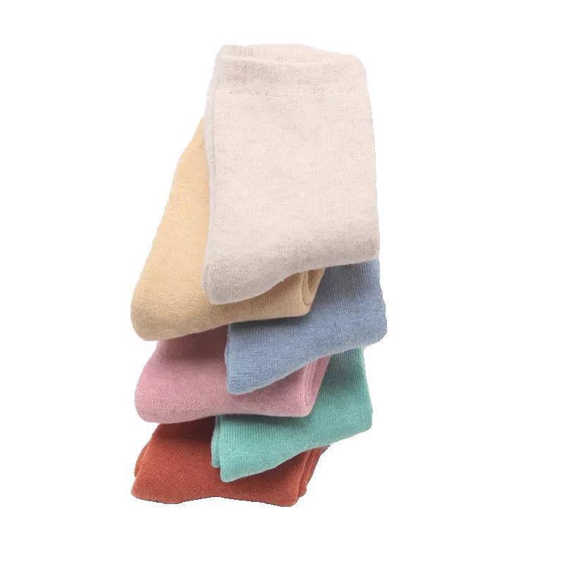 Set 6 đôi Tất/Vớ nữ trơn cổ cao siêu dày lót lông cừu Vintage Cao Cấp giữ ấm mùa đông