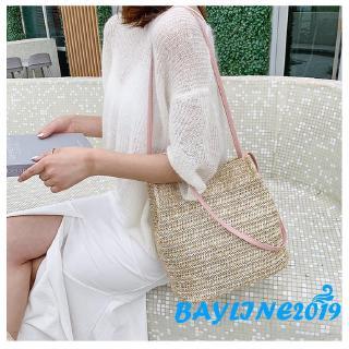 ❀ℳay-CA Women Crossbody Shoulder Bag Woven Rattan Straw Satchel Handbag Bucket Bag