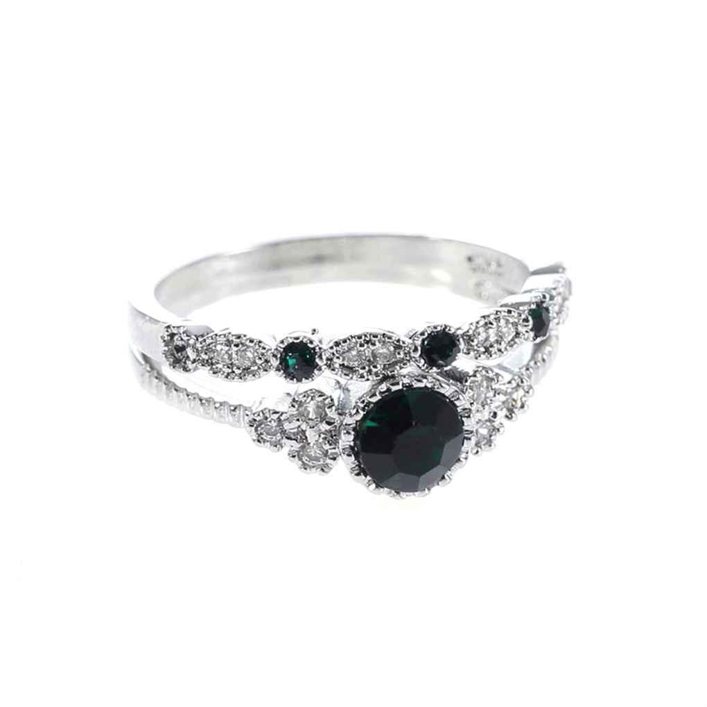 2Pcs/set Women Girls Emerald Inlaid Zircon Ring Accessory 6/7/8/9/10 US Size