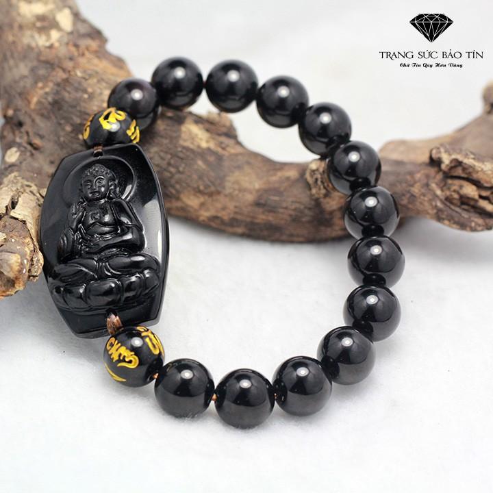 Vòng Tay Phong Thủy Phật A Di Đà Đá Obsidian - Bảo Tín
