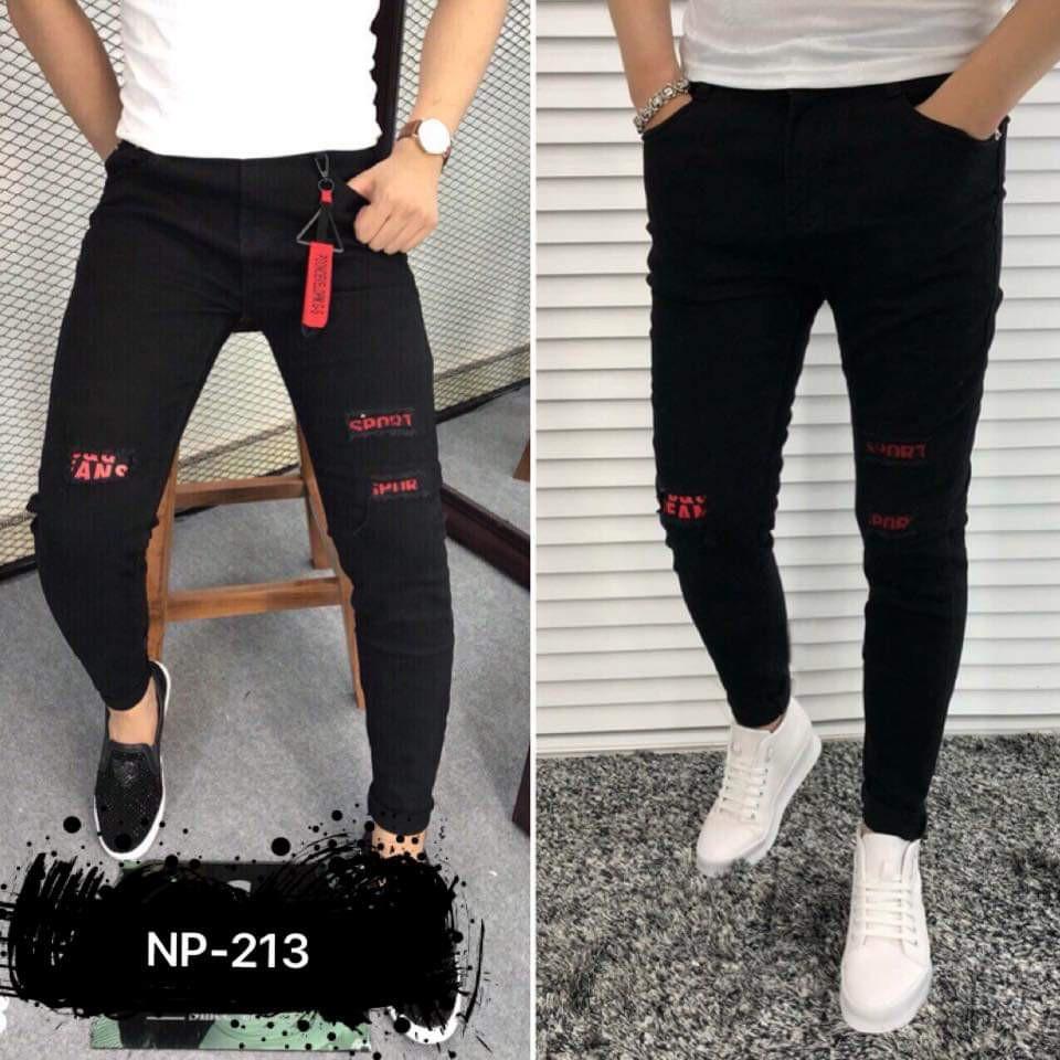Quần Jean Nam jeans nam rách gối jeans nam body quần jeans nam xước Wash fashionteengroup Quần Jean