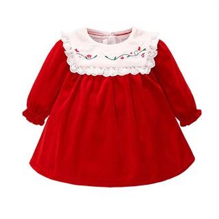 Váy nhung đỏ dài tay thêu hoa xinh xắn cho bé gái 6-24m (HÀNG QCCC)