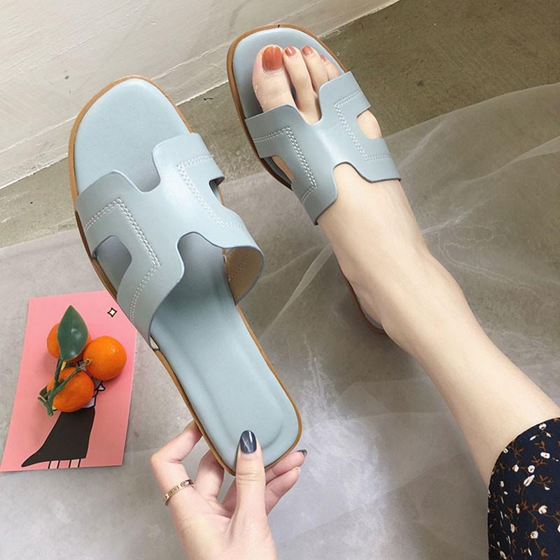 2019 flat bottom beach shoes female summer H-type open toe slip non-slip slippers