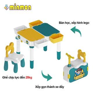 Bộ bàn xếp hình lego kèm 1 ghế MINMON cho bé – CY227082