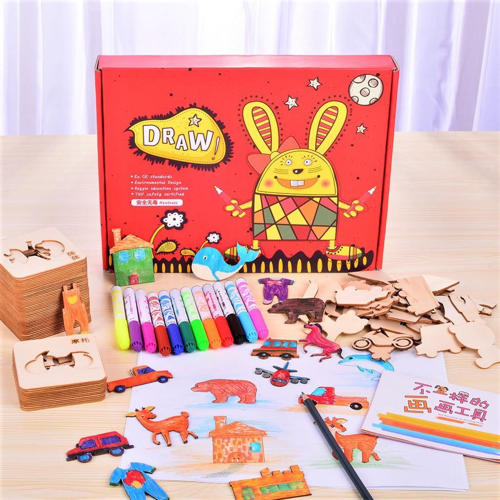 Bộ khuôn vẽ tranh hoạt hình bằng gỗ trí tuệ cho bé_Đồ chơi gỗSmartKids