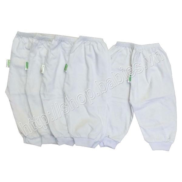 Bộ 5 quần dài bo trắng (cho em bé trai và gái từ 3-15kg)