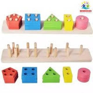 Bảng Phân Loại Hình Khối Và Màu Sắc Bằng Gỗ Theo Phương Pháp Montessori thumbnail