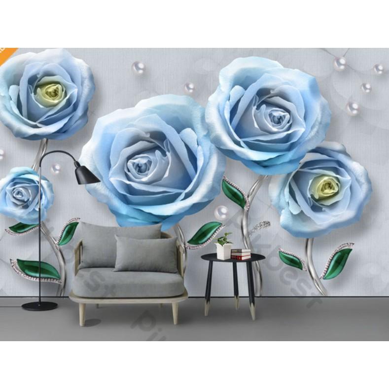 Tranh dán tường 3d, Hoa hồng xanh trang trí phòng khách phòng ngủ hiện đại(tích hợp sẵn keo) MS818614 (kích thước lớn)