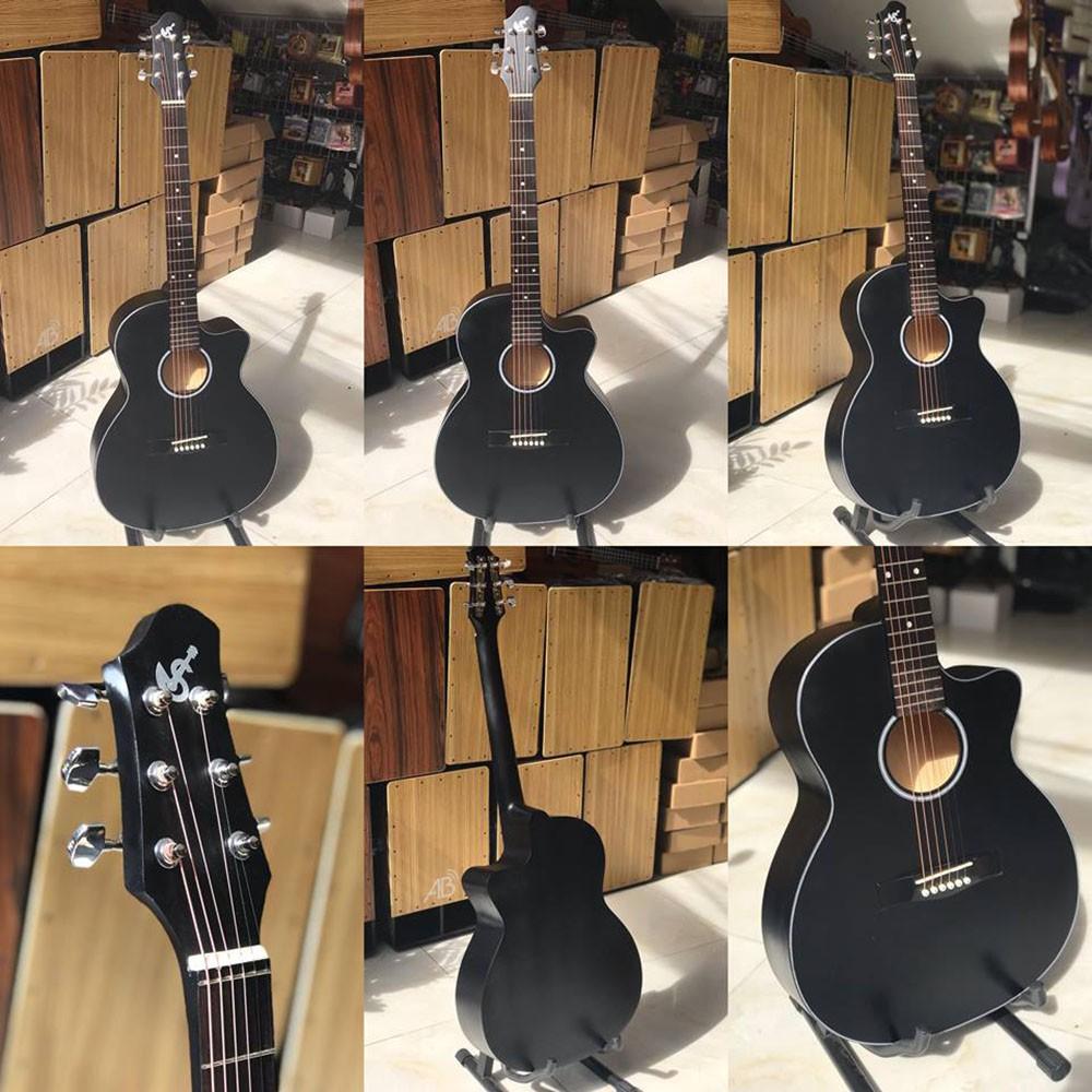 Đàn guitar acoustic có ty cho người mới - mặt gỗ thông tặng phụ kiện