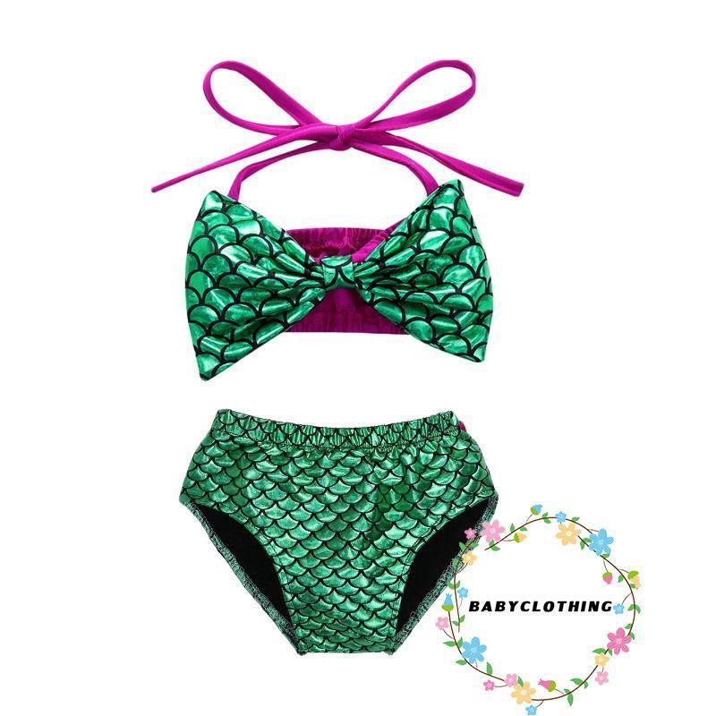 Bộ bikini 2 mảnh họa tiết nàng tiên cá cổ yếm xinh xắn dễ thương cho bé gái