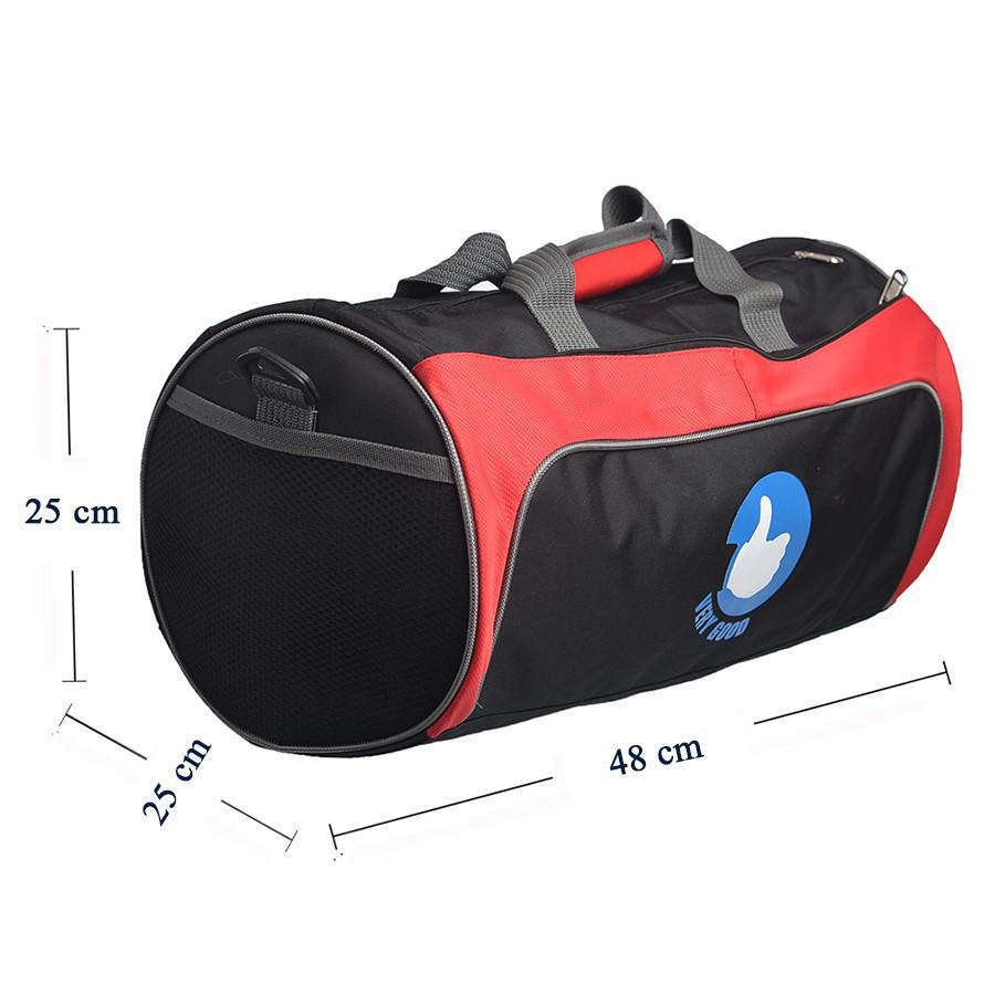 Túi trống thể thao cỡ lớn Verygood (đen phối đỏ)