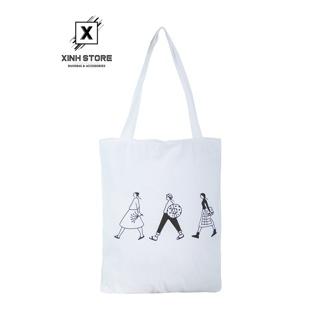Túi Vải Đeo Vai Tote Bag 3 Người Trắng XinhStore