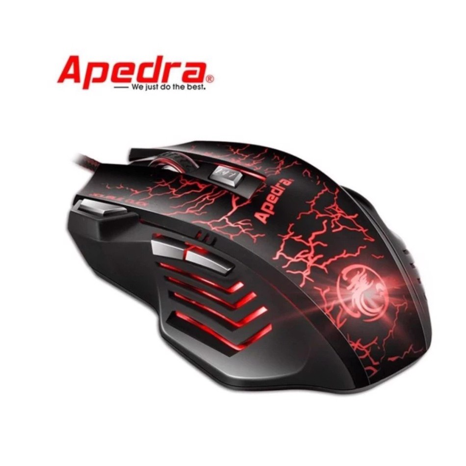 Chuột chơi game APEDRA A7 - LED 7 màu, dây dù dài 1.7m, gồm 7 nút, DPI lên đến 3200, độ bên 10 triệu click, BH 12 tháng