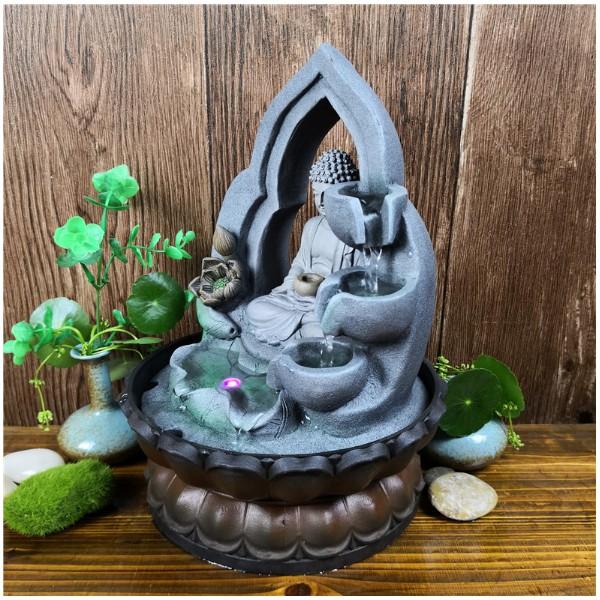 Thác Nước Phong Thủy Đức Phật Tọa Thiền Đài Sen Để Bàn - Tặng Bơm Nước Có Đèn Đổi Mầu