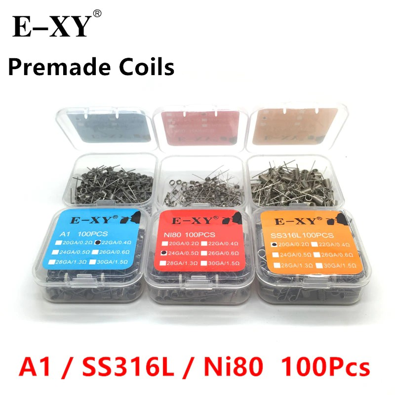 100pcs/Pack A1/SS316/Ni80  Premade Coil Wire Coiling Prebuilt Coil Resistance 20 22 24 26 28 30 GA Heating Wire for DIY