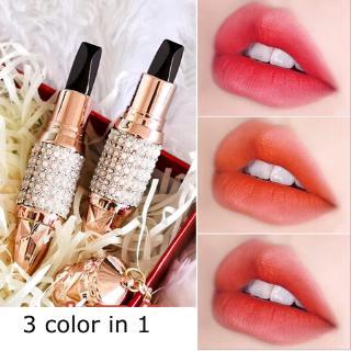 Nữ hoàng của vương trượng son môi 3 trong 1 ba màu son môi lâu dài dính môi giữ ẩm không thấm nước kim cương matte lip stick