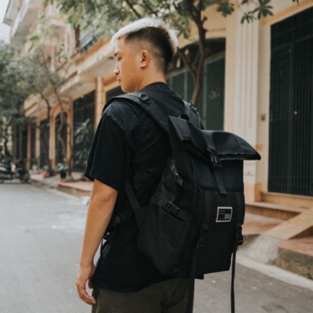 Balo backpack đen basic phản quang 😱😱 ( có sẵn ) (keangnam)
