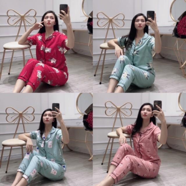 Mặc gì đẹp: Mát mẻ với Bộ đồ ngủ nữ cộc dài pijama bộ mặc nhà chất kate thái thoải mái dễ thương giá rẻ Hanz.vn H2