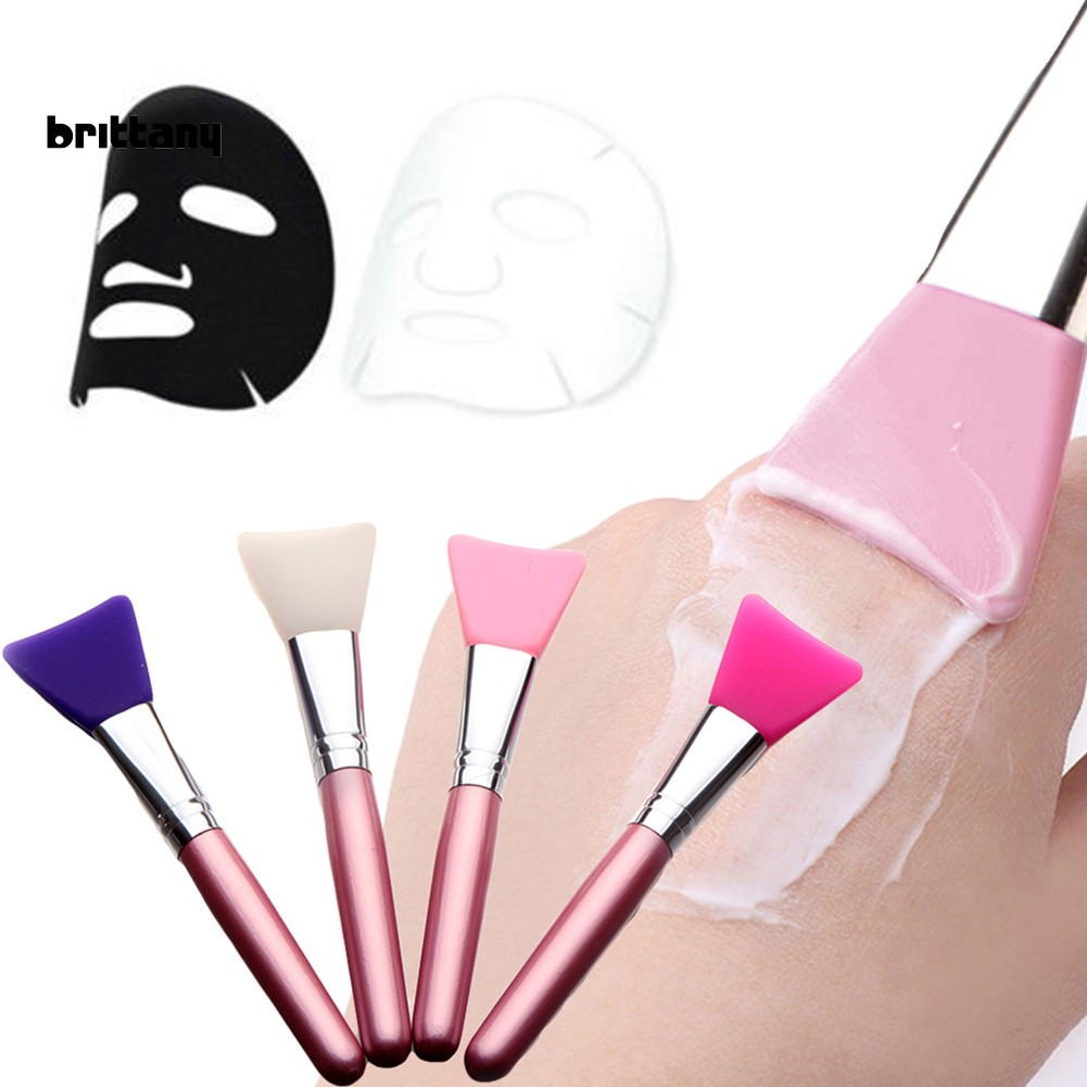BRIT_Soft Flat Silicone Mask Brush Facial Mud Applicator Skin Face Care Cosmetic