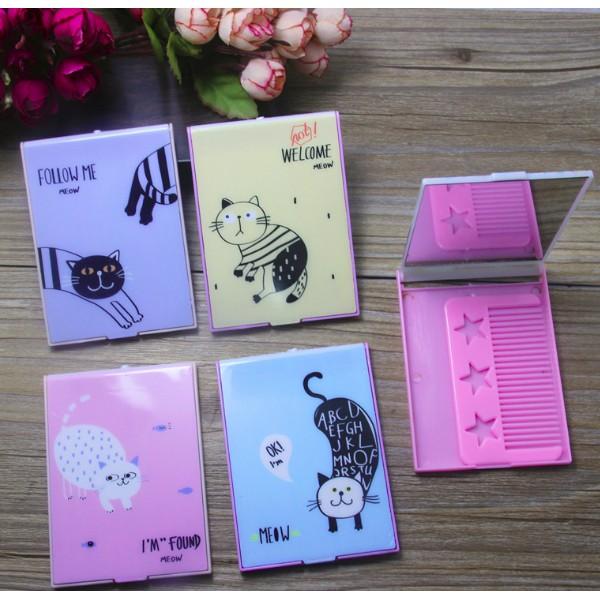 Bộ gương kèm lược kute - Bộ Gương lược trang điểm bỏ túi động vật dễ thương  Duashop