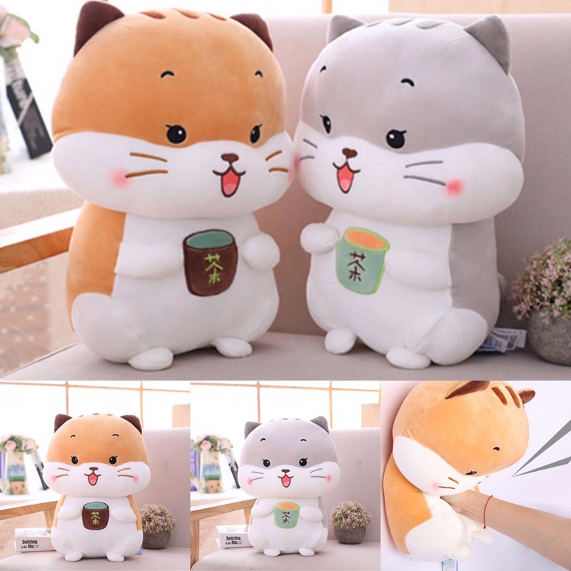 Mèo bông ôm trà sữa size 40cm [Mẫu hot 2021]